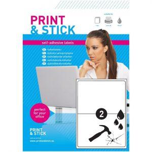 Etykiety samoprzylepne -PET/MAAT A4 arkusze do drukarek 210x148mm z marginesem